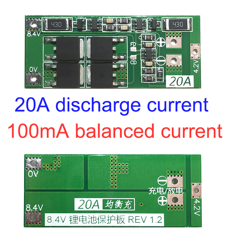2S 7.4V 8.4V 18650 Lithium Battery Protection Board 20A Current With Balancing