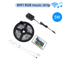DC 12V 5M RGB Led Strip Light SMD 5050 Flexible Ribbon with WIFI music controller APP Control RGB Tape Diode Waterproof IP65