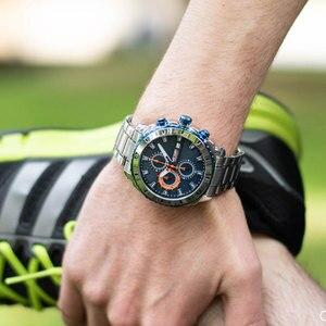 Image 5 - Megir באיכות גבוהה Mens הכרונוגרף שעונים לגברים גברים כחול נירוסטה Bracelete ספורט שעוני יד ילד של סטופר