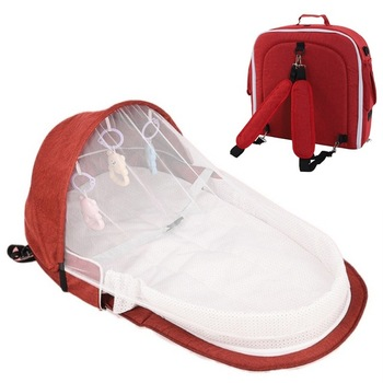 3Pcs Portable Bed Foldable Baby Bed Travel Sun Protection Mosquito Net Breathable Soft Infant Folding Sleeping Basket With Toys - Red Backpack, Russian Federation