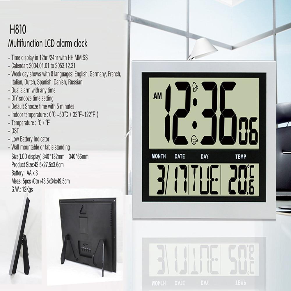 JIMEI H810 horloge murale numérique Simple Jumble affichage LCD calendrier de température d'alarme grand nombre pour usage domestique/bureau - 2
