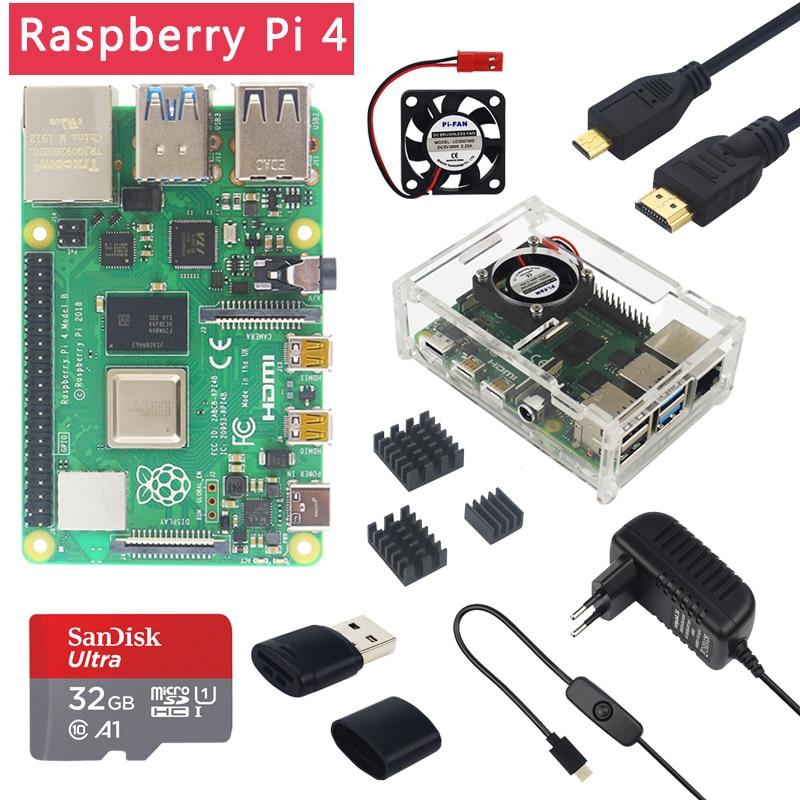 Dernière Raspberry Pi 4 modèle B 1/2/4GB RAM 1.5GHz BCM2711 | boîtier | ventilateur | dissipateur de chaleur | adaptateur secteur | carte SD 32 go | Micro HDMI