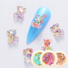 かわいいスモールクマデザインネイルラインストーンミックスミニ石 3Dチャーム樹脂材料マニキュアのためのネイルアート