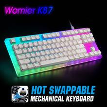 Womier 87 anahtar çalışırken değiştirilebilir RGB oyun mekanik klavye K87 80% Gateron anahtarı ile kristal taban tipi-C kablolu USB 3.1