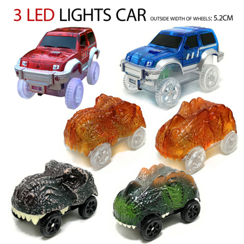 rail racing track car,dinosaur LED lamp electronic car, toy cars, parts, car track,with flashing lights kids toys car gifts image