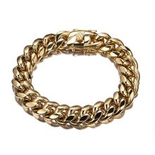 7-10 Inch 316L Stainless Steel Cuban Miami Chain Bracelet Big Heavy Gold Round Link Chain for Men Hip Hop Rock jewelry rock layered chain bracelet for men