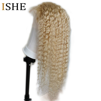 Honey Blonde 613 Curly Wig 360 Lace Frontal Wigs 13x6 HD Transparent Lace Front Human Hair Wig Preplucked No Remy For Women ISHE image