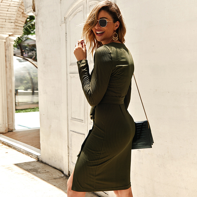 Sexy V Neck Autumn Long Sleeve Women Knitted Sweater Dress 2019 Solid Leisure Sashes Bodycon Button Midi Party Dress Robe Femme 5