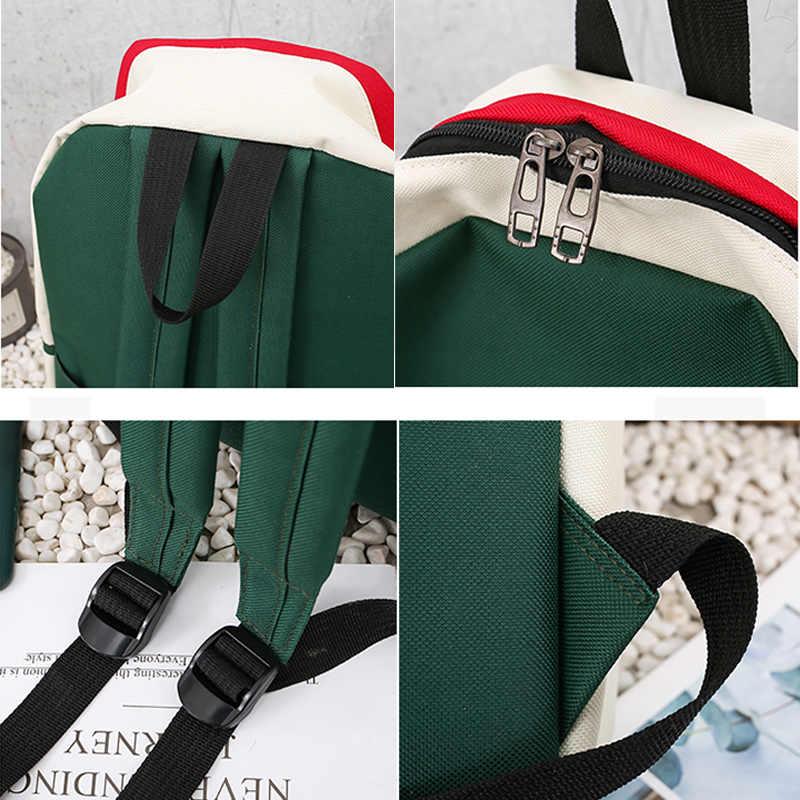 Conjunto de mochila de lona feminino, conjunto de 4 peças de bolsas pretas casuais para escola estilo: