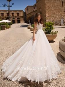 Image 3 - Alonlivn Elegant Appliques Tulle A Line ชุดเจ้าสาวสั้นแขน Court รถไฟ O Neck Gowns แต่งงาน
