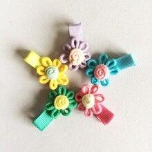 лучшая цена 1 Pcs/lot New Design Cute Little Girls Hairpins Embroidery Flower Candy Hair Clips Kids Children Barrettes
