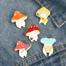 Cartoon Mushroom Enamel Pins Badges For Backpack Clothing Funny Guitar Accordion Brooches Bag Lapel Pin Badge Plant Jewelry