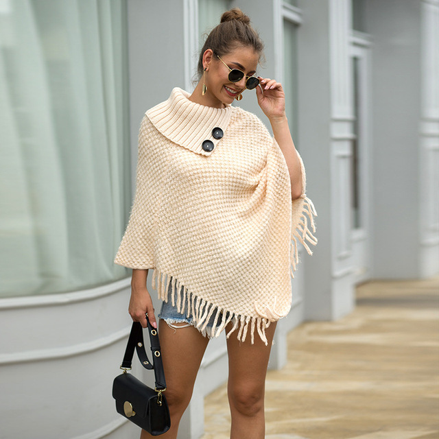Korean Style Women Winter Furry Soft Loose Casual Tassel Cape Overcoat Knitted Sweater 3