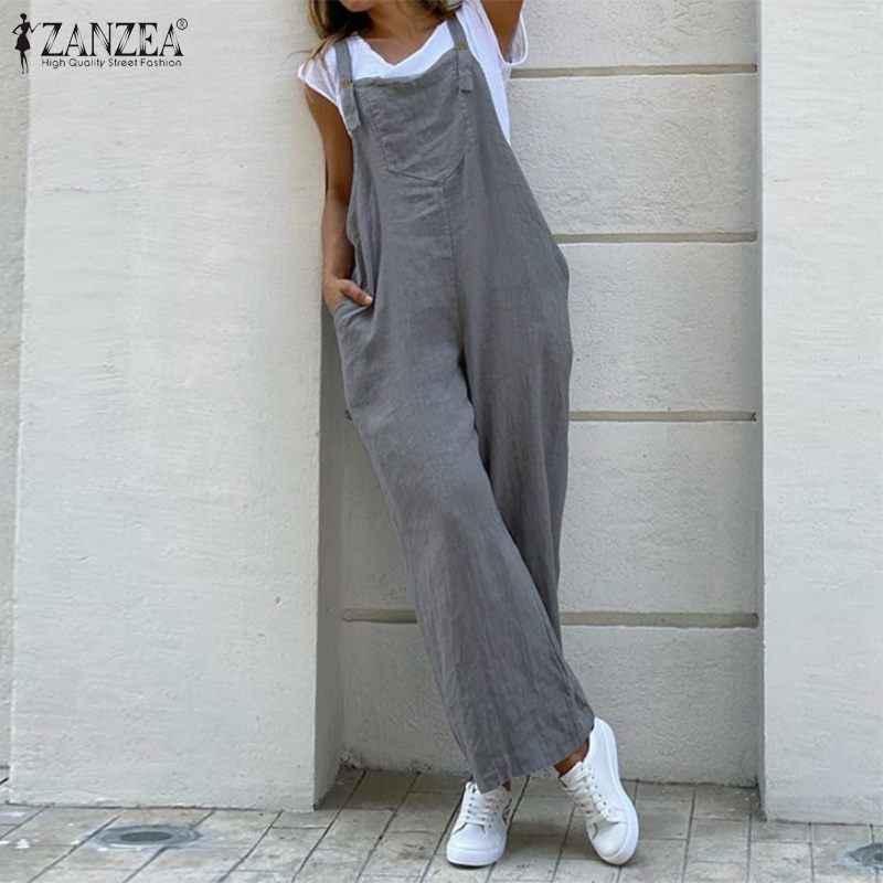 ZANZEA Women Suspender Rompers Overalls 2020 빈티지 코튼 점프 슈트 Playsuits 롱 포켓 와이드 레그 팬츠 Combinaison Oversize