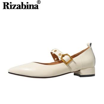 RIZABINA Women Pumps Shoes Fashion Pointed Head Buckle Heels Shoes Women Real Genuine Leather Office Lady Footwear Size 34-39