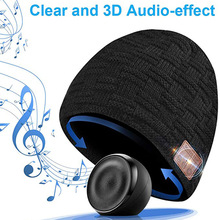 Wireless Bluetooth Headphones Stereo Earphones Soft Warm Hat Music Headset with Microphone