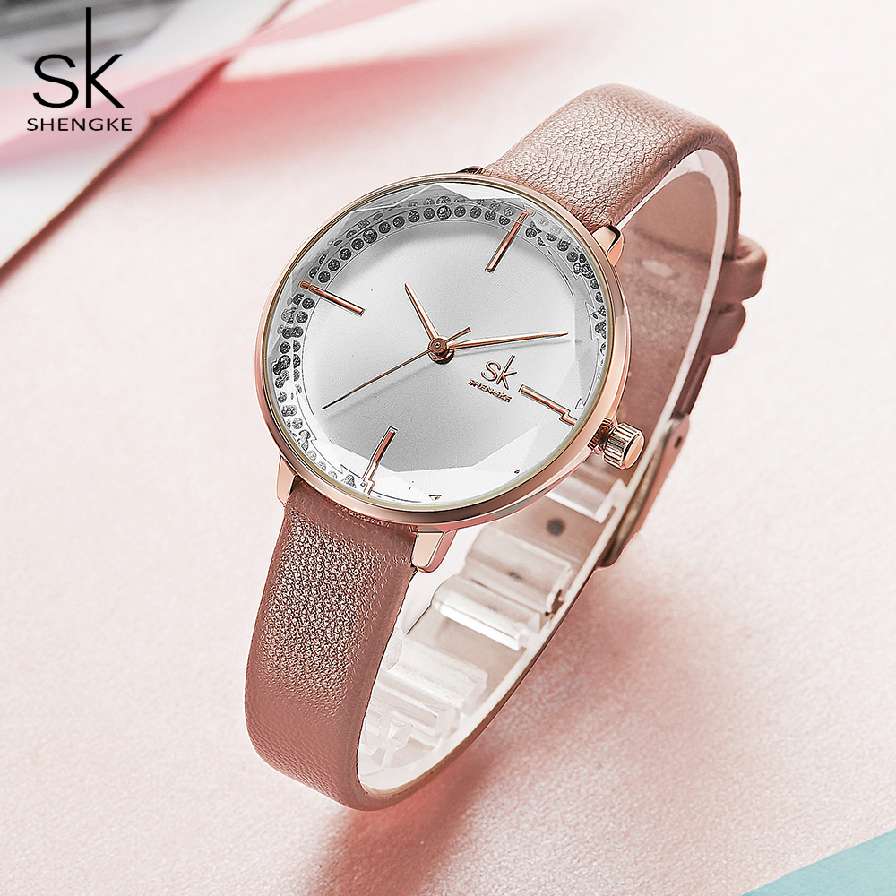 Shengke Women Fashion Girl Quartz Watch Lady Leather Strap High Quality Casual Waterproof Wristwatch Gift For Wife/Mom