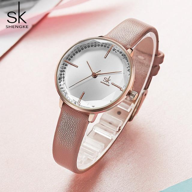 Shengke kobiety moda dziewczęcy zegarek kwarcowy Lady skórzany pasek wysokiej jakości Casual zegarek wodoodporny prezent dla żony/mamy