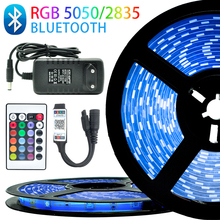 LED Strip Light RGB 5050 SMD 2835 Flexible Ribbon Lights Strips RGB 5M 10M 15M 20M IP65 Tape Diode DC 12V Remote Control+Adapter