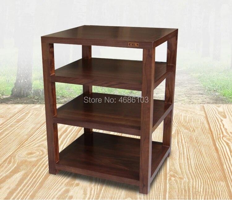 high end four layer walnut wood audio cabinet europe audio shelf rack home hifi stand media component shelf rack tv cabinet