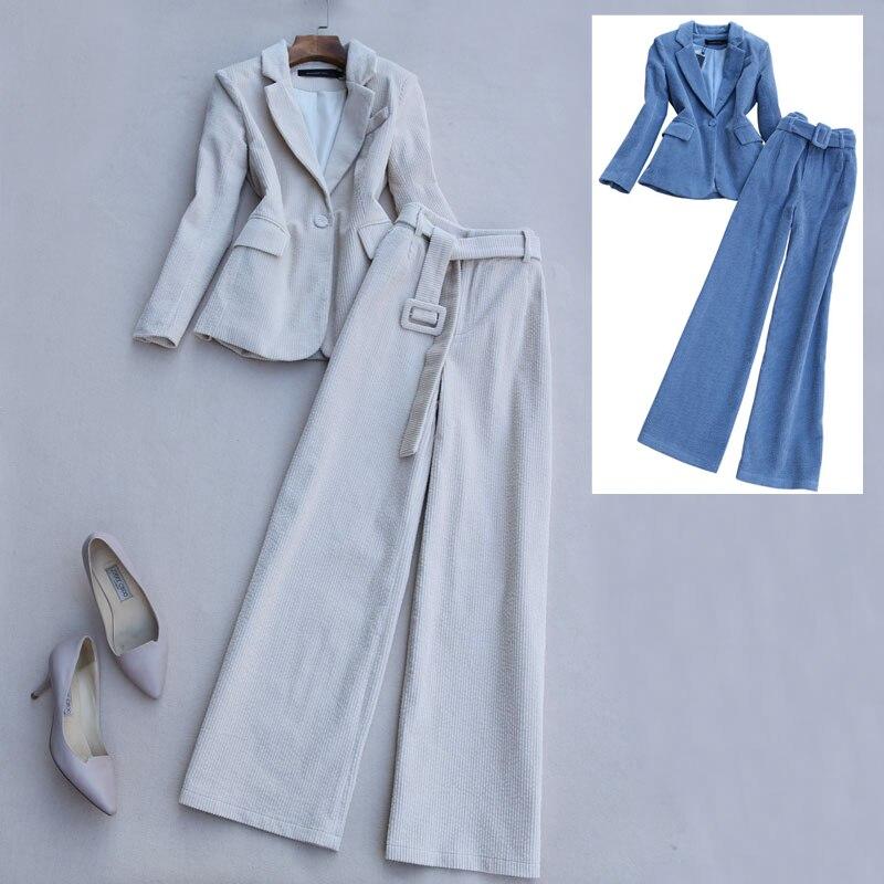2020Spring new corduroy fashion suit pants women autumn and winter Korean temperament stripe suit wide leg pants two-piece suit