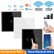 1/2/3/4 Gang TUYA WiFi 433MHZ Smart Single Fire Zero Fire Universal Home Touch Switch For Alexa And Google Home Assistant
