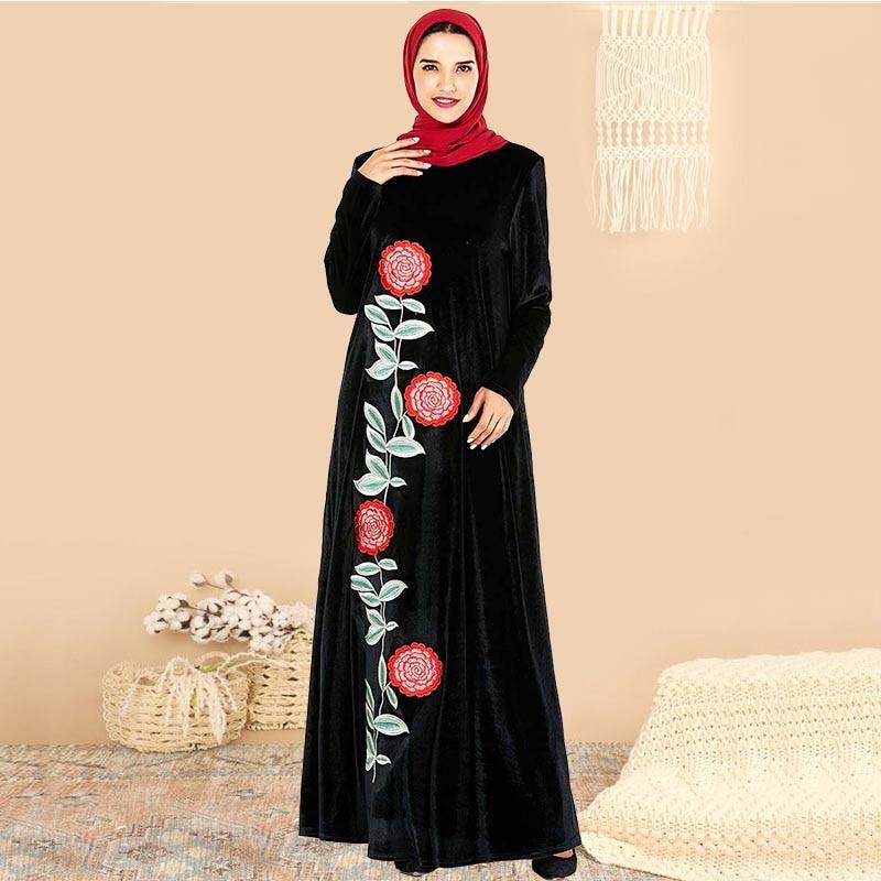 BNSQ Velvet Embroidery Muslim Women Dress Turkish Abaya Flower Maxi Kimono Open Robe Dubai Muslim Dress Amadan Kaftan