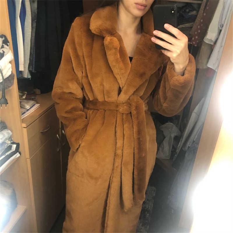 冬のファッション新しい高品質のウサギの毛皮のコートの毛皮のコートロングコート女性ルース厚手ウォームミンクの毛皮テディコート H0171