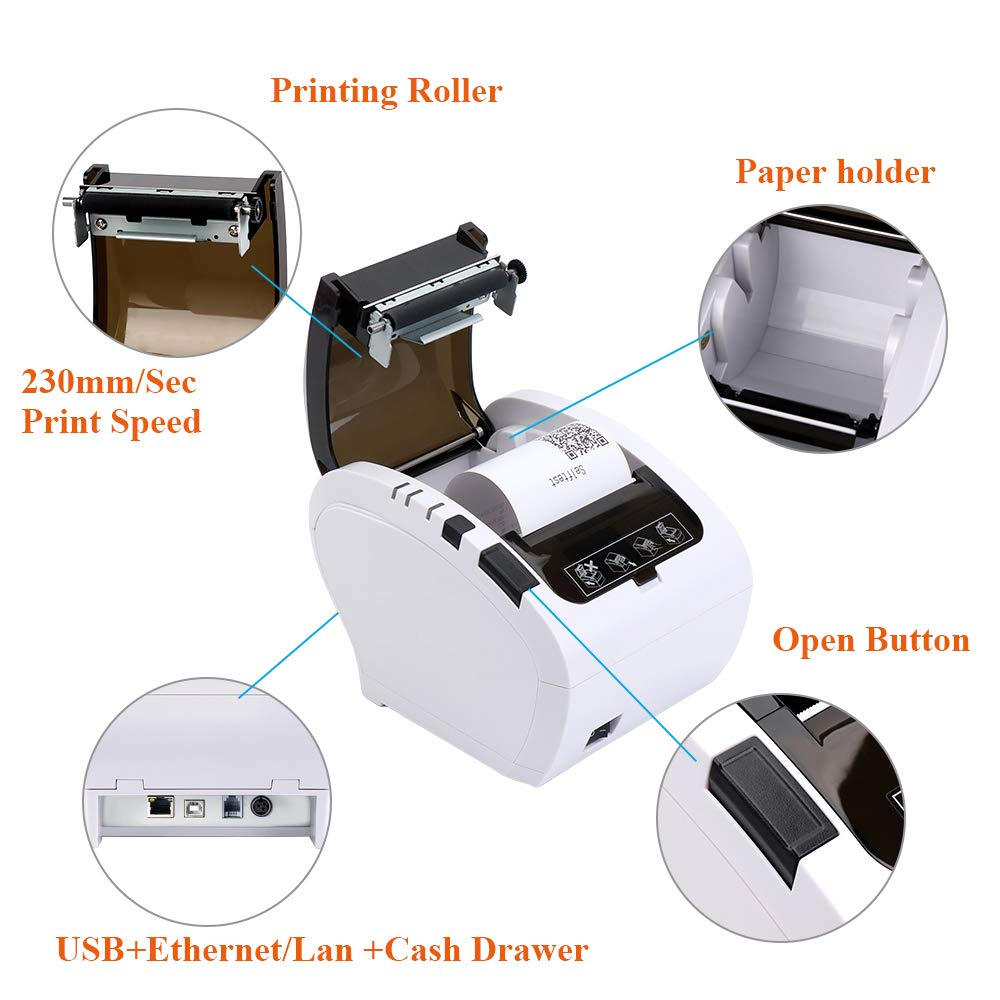 Image 5 - GZ8002 80mm Thermal Receipt Printer Automatic cutter Restaurant Kitchen POS Printer USB+Serial+Ethernet Wifi Bluetooth printer-in Printers from Computer & Office