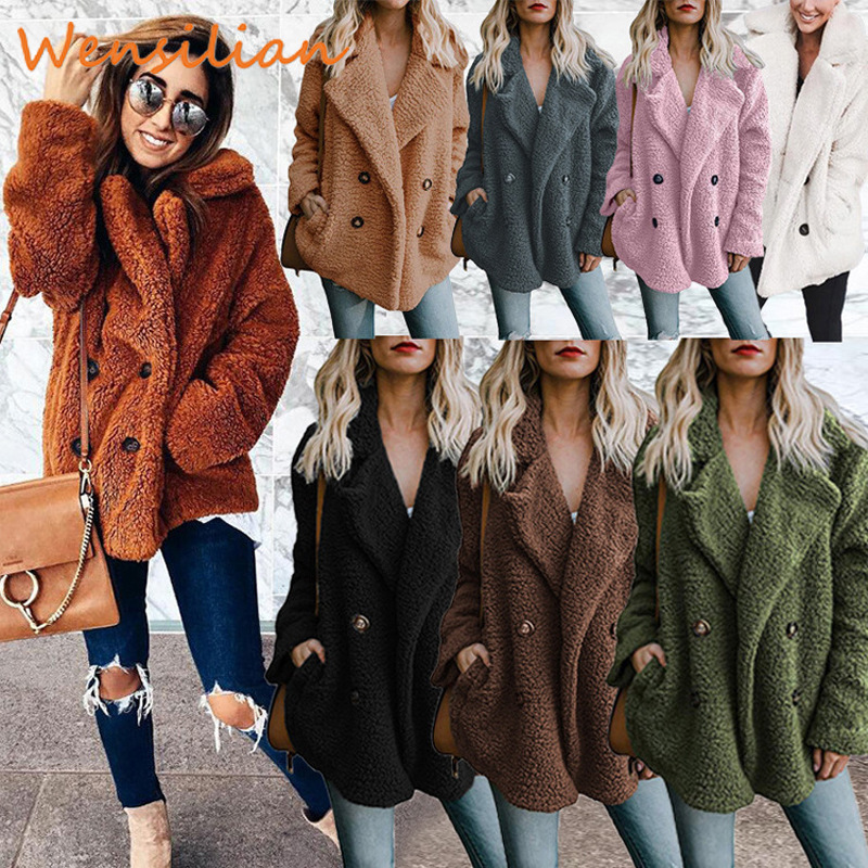 Teddy Faux Fur Coat Winter Jacket Women Plus Size Women's Jacket Overcoat Lapel Outerwear With Fur Female Fourrure Femme Futro
