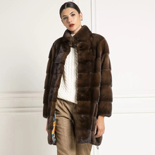 Fashion Coffee Color Mink Fur Coats for Woman Natural High Quality Stand Collar Long Length Genuine Mink Fur Coat Trendy Outwear