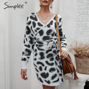 Image 5 - Simplee Vrouwen luipaard gebreide jurk Lange mouwen v hals bodycon trui jurk Streetwear kantoor dame riem herfst winter jurk