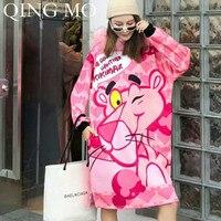 QING MO Women Pink Panther Print Sweatshirt Dress 2019 Autumn Winter Women Pink Fur Collar Hooded Sweatshirt Dress ZQY1204