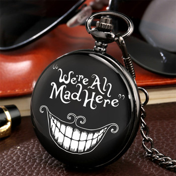 We All Mad Here Theme Quartz Pocket Watch Vintage Black Pendant Watch With Punk Pocket Chain Reloj De Bolsillo