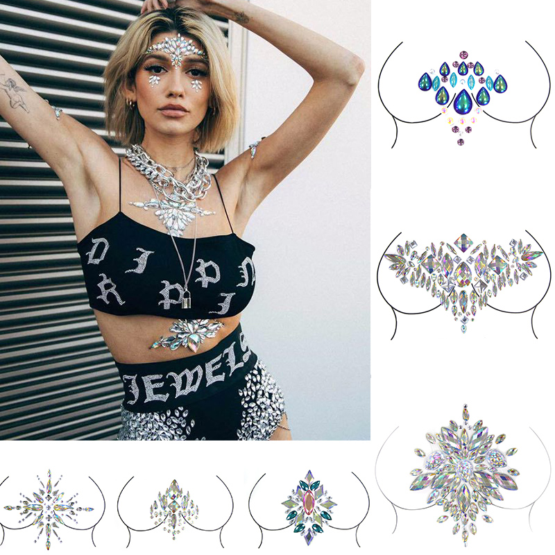 3D Christmas DIY Make You Different Body Art Adhesive Crystal Glitter Jewels Festival Party Temporary Tattoo Stickers Xmas Decor