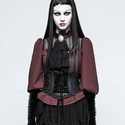 PUNKRAVE женский Готический пояс Лолита искусственная кожа цветок вышивка ушко шнурок Хэллоуин Корсет-костюм
