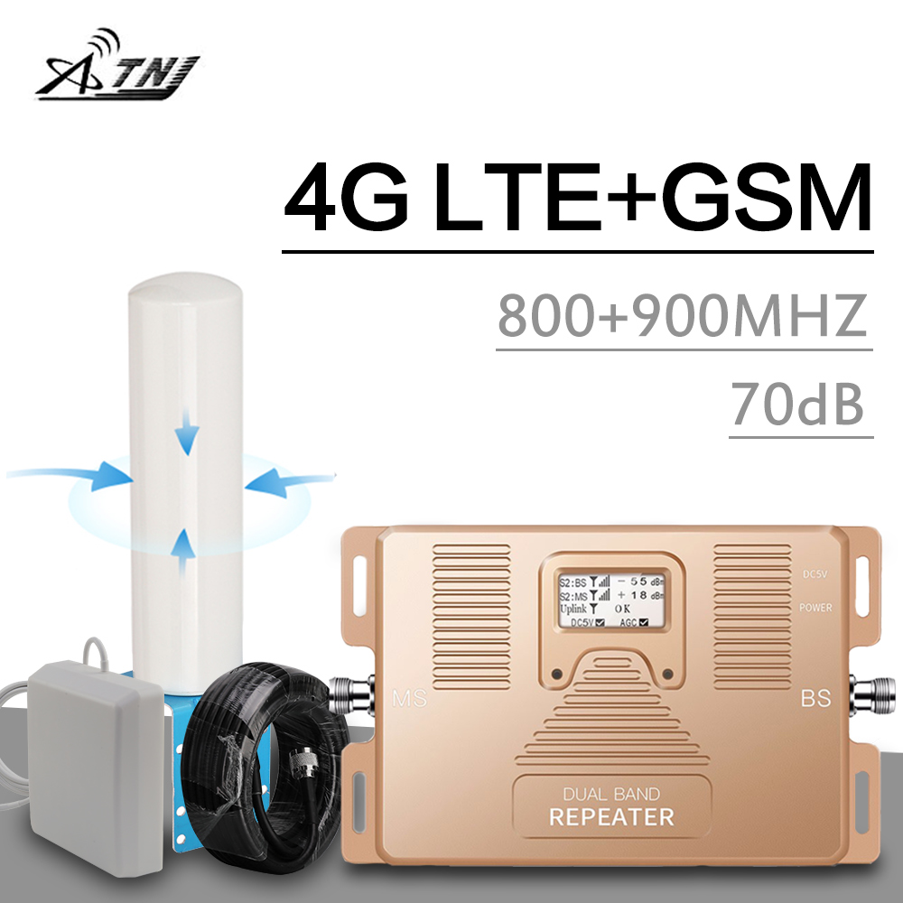 800+900 Dual Band Signal Repeater GSM 900 LTE 800 Mhz 2g 4g Cellular Amplifier Band 8 Band 20 Real LCD Display 4G LTE Booster 70