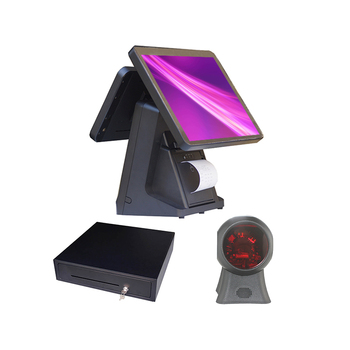 ComposXb Stock 15/15.6 inch double screen pos system with printer inside
