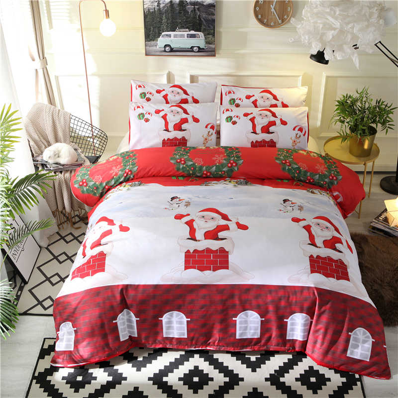 Liv-Esthete Merry Christmas Red Bedding Set Winter Printed Duvet Cover Single Double Queen King Bed Linen Pillowcase Flat Sheet
