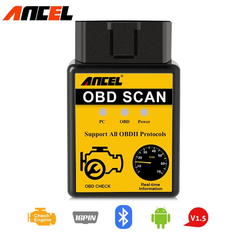 ANCEL V1.5 ELM327 OBD2 Scanner Bluetooth Car Diagnostic Tool Read Erase Errors Engine System OBDII EOBD Automotive Code Reader