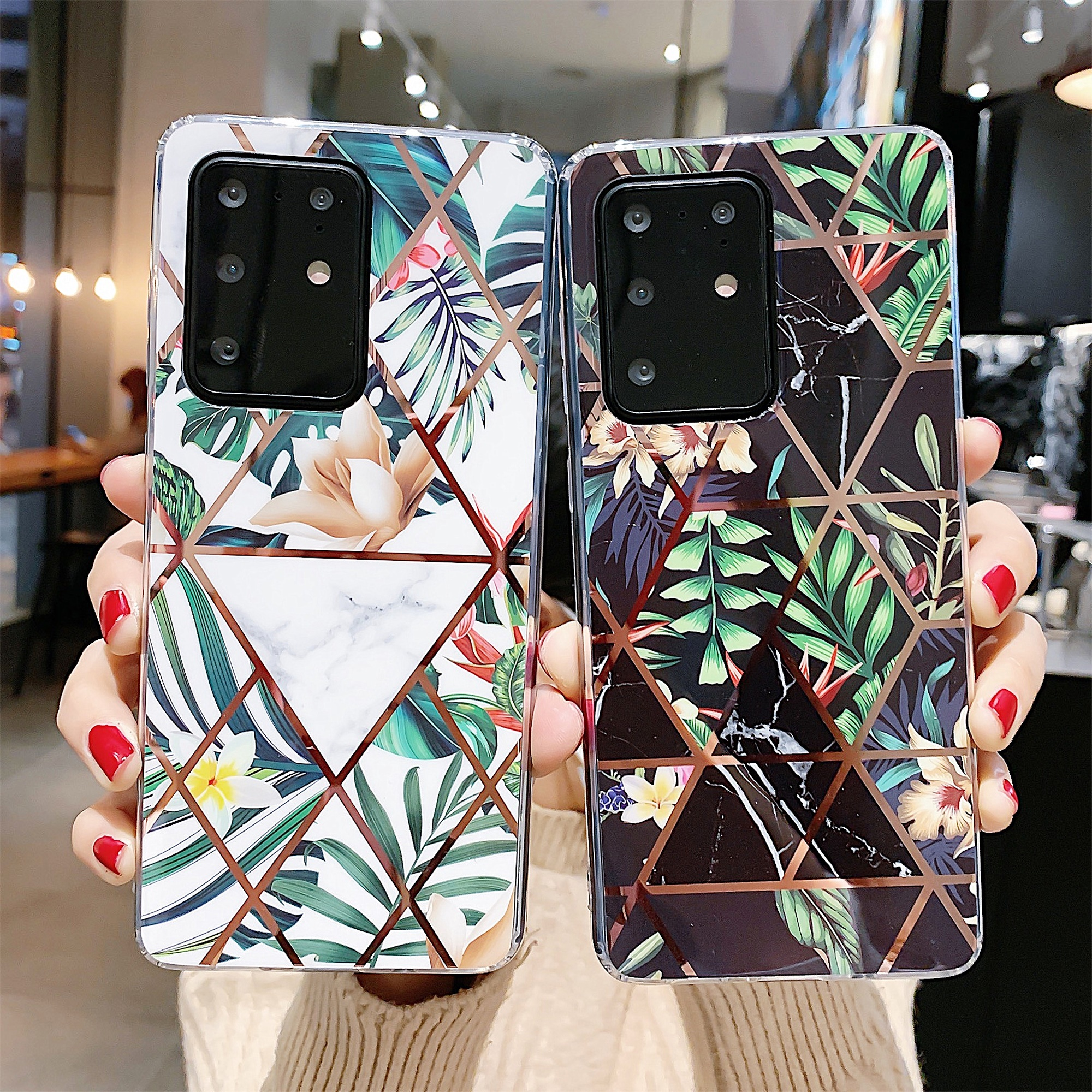 Electroplating Splicing Flower Phone Case For Samsung Galaxy S8 S9plus S10 E S10plus Note9 10 10Pro S20 Plus S20ultra TPU Case