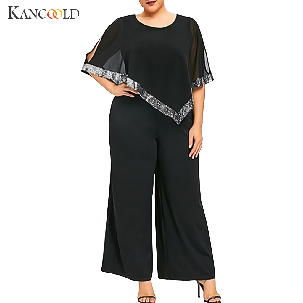 KANCOOLD Women's Fashion Large Size Solid Color Zipper Sequins Sleeveless Shaw Wide Legs Jumpsuit denim jumpsuit women
