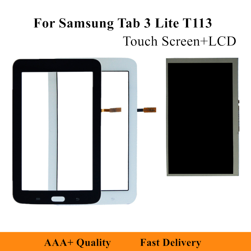 Touch Screen Digitizer Panel + <font><b>LCD</b></font> Display For Samsung Galaxy <font><b>Tab</b></font> <font><b>3</b></font> Lite SM-T110 T113 T113NU <font><b>LCD</b></font> Repair Parts image