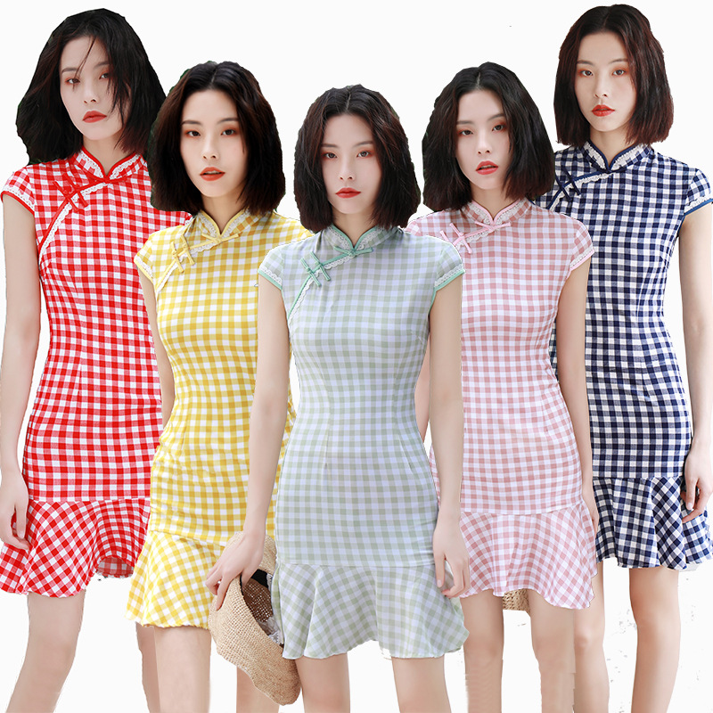 2019 Summer New Style GIRL'S Fashion Sexy Retro Short Cotton Linen Plaid Hipster Fishtail Dress