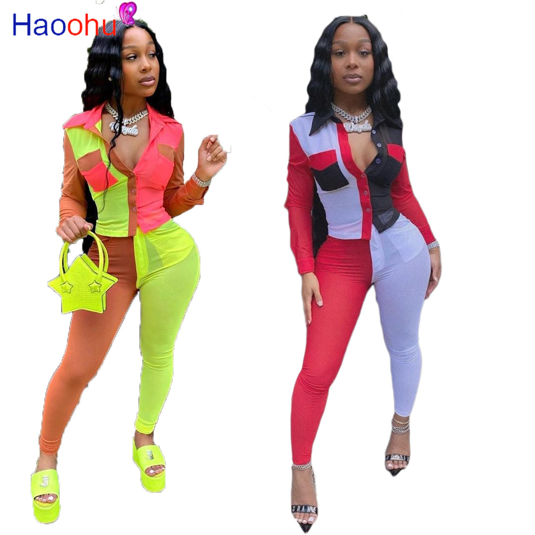 Haoohu Sexy Plus Size Two Piece Set Women Tracksuit Blouse Sweatpants 2 Piece Club Birthday Outfits Matching Sets Pant Suits Aliexpress