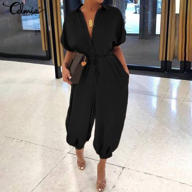 Rompers Women Vintage Jumpsuits 2019 Celmia Female Short Sleeve Cargo Pants Button Casual Loose Harem Trouser Plus Size Overalls 2