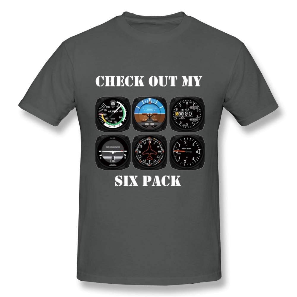 Awesome Aviation 6 Pack Instrument For Pilots T Shirt Graphic Print Camiseta Cotton Big Size Homme Tee Shirt