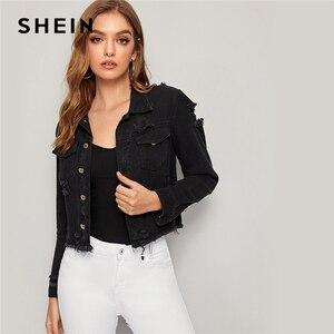 Image 3 - Женская джинсовая куртка SHEIN, черная рваная Повседневная однобортная куртка с потертыми краями и длинным рукавом, весна осень