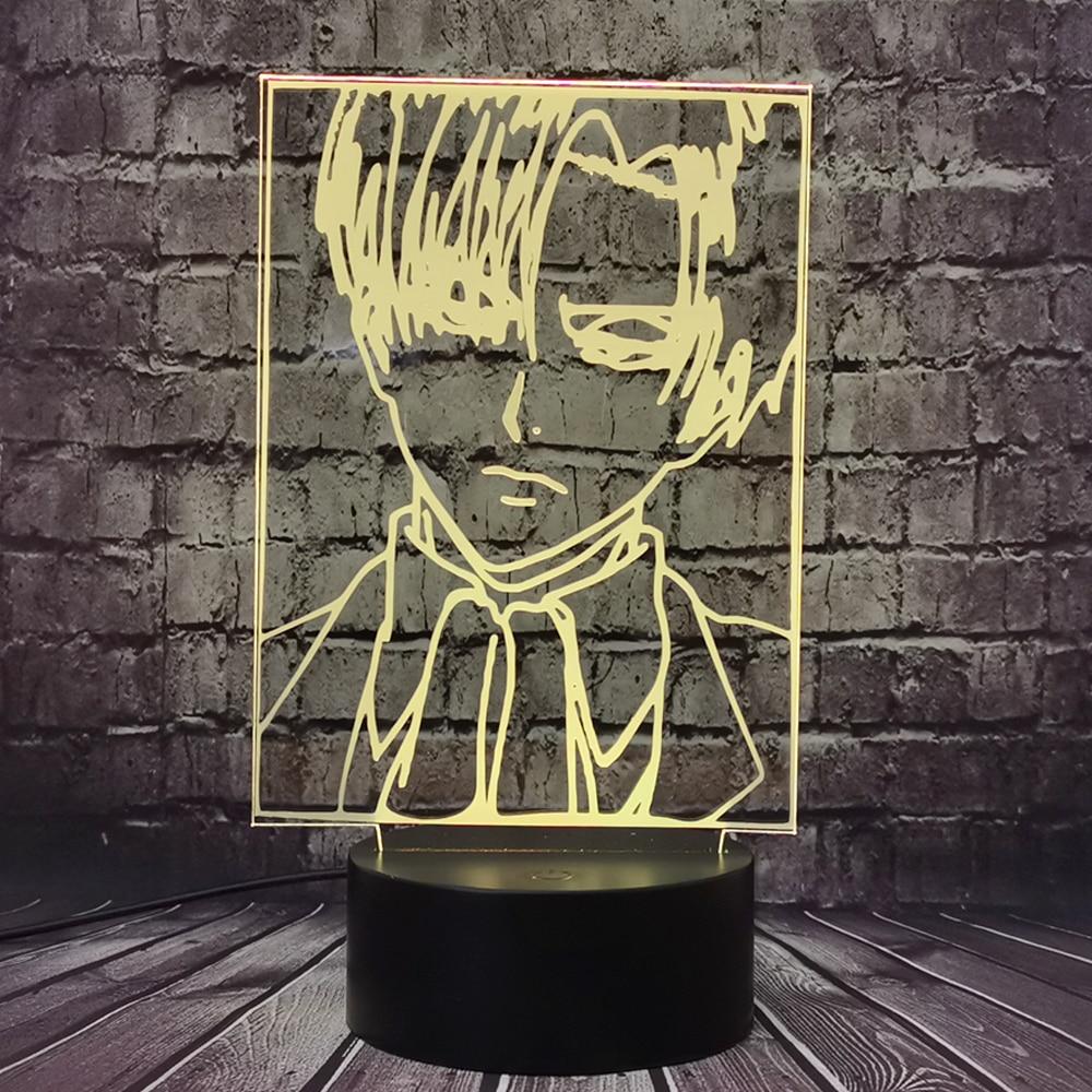 Ataque en Titán tema luz cómic capitán Levi figura de Ackerman Led luz de noche para niños 3D óptica lámpara de mesa regalo juguete Lámpara led Gauss led primaria gx53 9W 4100K 1/100 de 83829