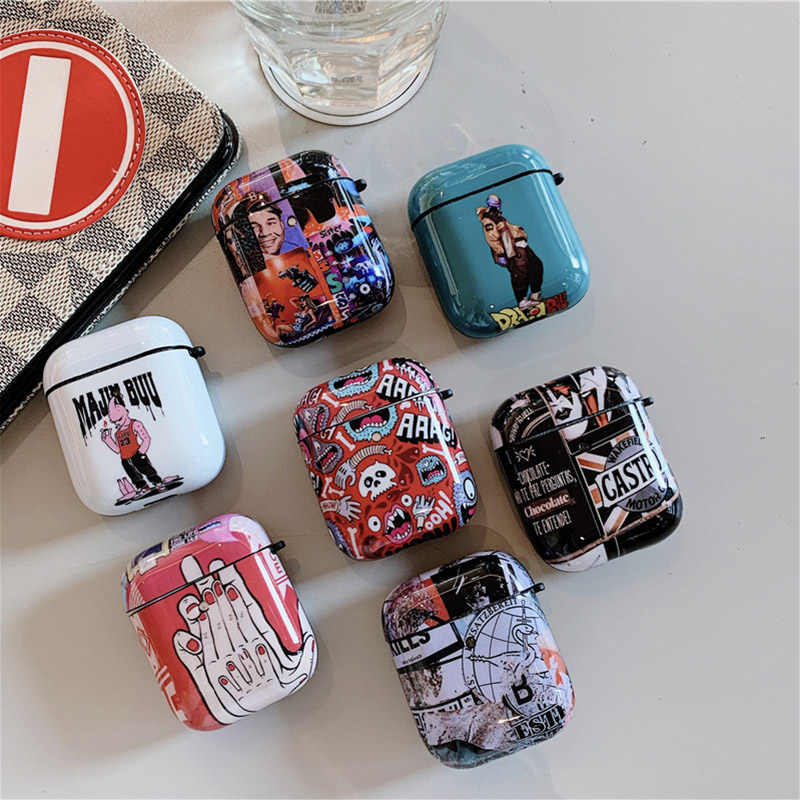 Retro Graffiti Painting Case For Airpods 2/1 Cover Fashion Cartoon Silicone Bluetooth earphone earphone cover For Air pods Case